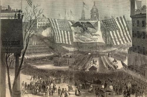 Victory parade, New York City, March 1865.  From Harper's Weekly, 3/25/1865.