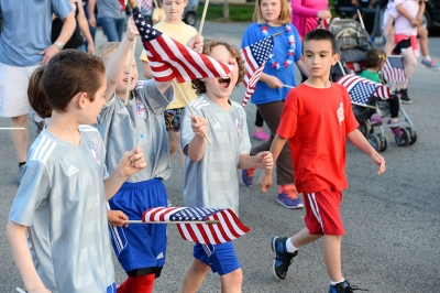 Flag Day passes unnoticed in much of the country. But Quincy, Massachusetts has been holding a Flag Day Parade annually since 1952.   Photo by Robert Bosworth, Quincy Sun, 6/14/2014.
