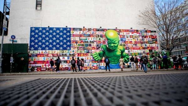 Ron English mural on the Houston Bowery Wall in Manhattan, completed 18 April 2015.  Photo by Aymann Ismail/ANIMALNewYork.