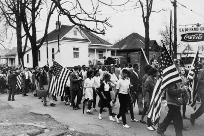 Civil rights activists march from Selma to Montgomery, AL in 1965.