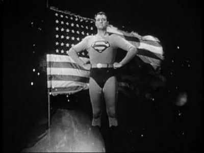 George Reeves as Superman, and the US flag as... itself.