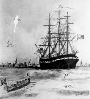 The USS Alfred.  Painting by Harry W. Carpenter (1920).