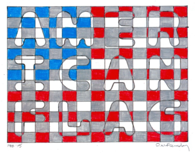 Architect and artist David Ferriday continues to create his interesting graphic art incorporating hidden messages with a flag theme.  Here is one of his latest works.