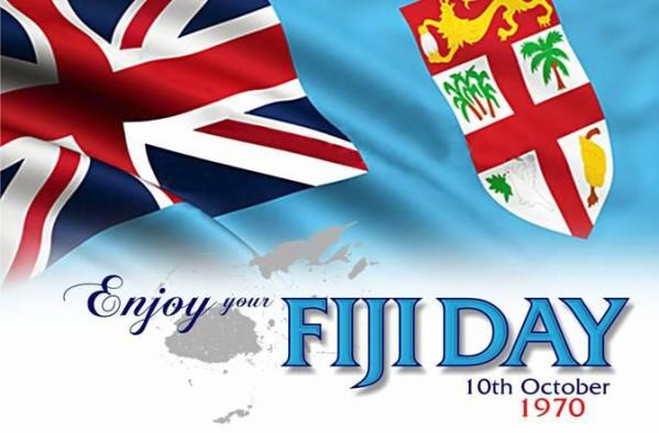 An ad for Fiji Day showing the existing flag.  A new flag is expected by Fiji Day 2015.