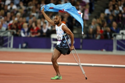 Iliesa Delana, after winning a Gold Medal for Fiji in high jump at the 2012 Paralympics