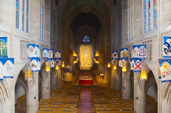 Flags in Spokane's Cathedral of St. John, photo from www.inlander.com