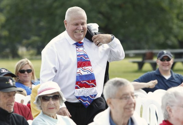 Yacolt (WA) Mayor Jeff Carothers wearing his tie-contest entry at 2014 Flag Day at Fort Vancouver.  Carothers ties with Leavitt for first place.  Photo by Steve Dipaola for The Columbian.