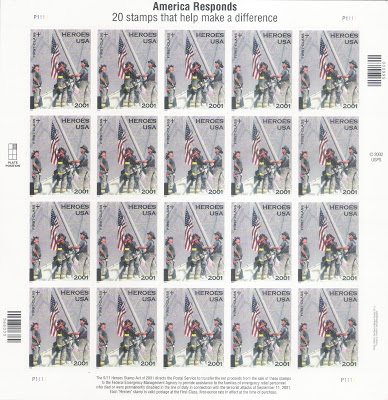The Heroes of 2001 stamp issued by the USPS in March 2002.  From the posting US Flag and the Tenth anniversary of 9/11 (September 11) attack.