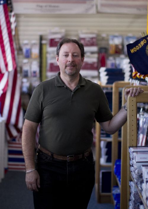 Dave Anchel, owner of Elmer's Flag & Banner in Northeast Portland, decided to remove the Confederate flag from the shelves of his store on Northeast Broadway. He'll remove it from the company's Internet site, and keep it behind the counter of his store, where he will sell it upon request and in person. Elmer's Flag & Banner in Northeast Portland has flags from every nation in the world along with a wide variety of historical flags, including the Confederate flag. June 23, 2015 Nakamura/Staff Beth Nakamura | The Oregonian/OregonLive