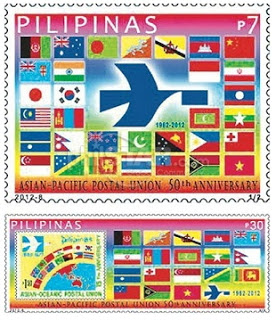 Commemorative stamp for the 50th anniversary of the Asia-Pacific Postal Union, issued by the Philippines in 2012.  From Chakrabarti's most recent posting.