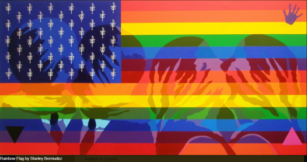 "Stanley Bermudez: Rainbow Flag.  Acrylics on Canvas, 45"" x 60""."