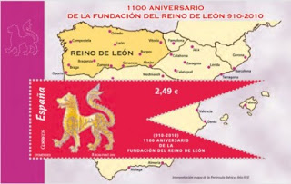 The Red Lion of the Kingdom of León, commemorating the 1100th anniversary of León's founding.  From the post Animals on Flags.