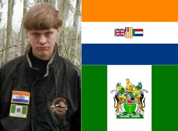 The very well publicized photo of the murderer wearing flag patches of defunct white minority-rule states on his jacket -- South Africa  (1928-1994) and Rhodesia (1968-1979).