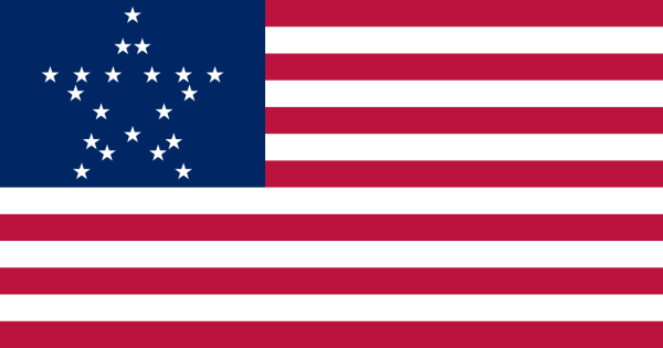 The 20-star flag, adopted 4 July 1818.  One of nine US flags that lasted only one year, this flag added 5 stars for Indiana, Louisiana, Mississippi, Ohio, and Tennessee, and was replaced the following 4th of July by the 21-star flag recognizing Illinois statehood.  Before 1912 the arrangement of the stars was not specified, allowing beautiful designs like this Great Star to circulate.