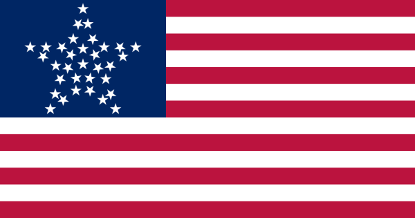 The 33-star flag adopted 4 July 1859, acknowledging the admission of the finest of the 50 states to the union.