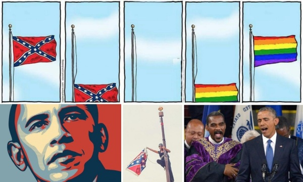 "An illustration from The Guardian: ""The Confederate flag was torn from its pole by an activist less than 24 hours after the president sang Amazing Grace. In between: equality. Art: Bob Englehart / Hartford Courant (top left); Southern Poverty Law Center (top right); Shepard Fairey (bottom left); Adam Anderson (bottom middle); Yin Bogu / Corbis (bottom right)"""