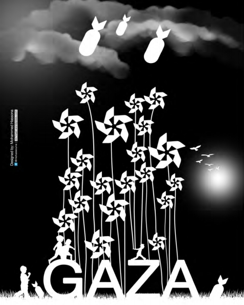 #GazaPinwheels project poster by Mohammed Hassona.