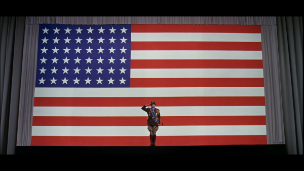 George C. Scott portraying General S. Patton at the beginning of the 1970 epic, Patton. The US fought both World Wars of the 20th century under this 48-star flag, adopted 4 July 1912 after the admission of Arizona and New Mexico.  This was the first US flag to have an officially mandated star pattern.