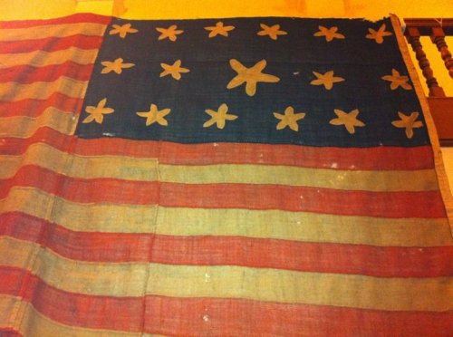 A 17-star, 17-stripe US flag from the War of 1812, exhibited by the ZFC.  Photo by Scott Mainwaring.