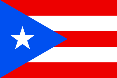 The flag of Puerto Rico, first presented in 1892 to the Puerto Rican Revolutionary Committee in New York City, which adopted it in 1895. It is unclear who designed it, but it was understood as an adaptation of López' flag. One account claimed that it came to Antonio Alvarado as an after-image of the Cuban flag he had been staring at on the wall of his Manhattan apartment. (Actually, however, the perceptual after-images of red and blue are green and yellow, respectively, not blue and red.) Different shades of blue are in use, sometimes representing different positions regarding PR's future status; the Cuban government's website shows both Royal Blue and Old Glory Blue versions.