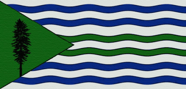 The Cascadian Nautical Flag: A tribute to the waters and sky of the bioregion. Designer: Alexander Baretich.