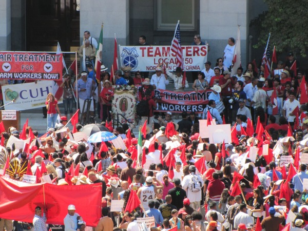 The Labor Day rally at the California Capitol in 2011, concluding a UFW march to demand changes to union election and overtime laws.  Photo by Duane Campbell.