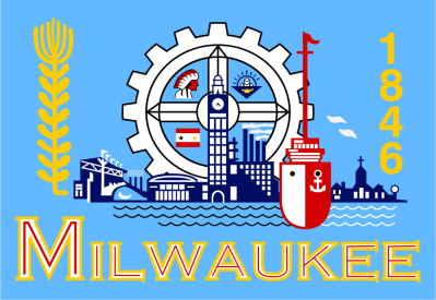The city flag of Milwaukee, Wisconsin, designed by former alderman Fred Steffan in 1955 based on submissions to a design contest.
