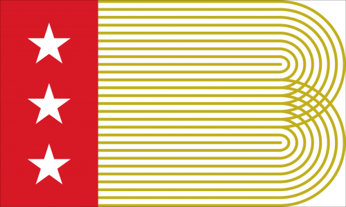 "Robert Finkel's design juxtaposes three white stars (symbolizing ""Finance, Medicine, and the Arts"") on a red bar at the hoist with ""concentric gold lines"" on a white field spanning filling the rest of the flag that ""mimic steel rails"" and form the letter B."