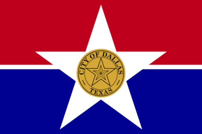 The current flag of Dallas. Designed by Jane Malone, adopted 1967.