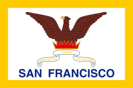 The flag of the city and county of San Francisco, designed by John M. Gamble in 1900, adopted 1940, it refers to the rebuilding of the city after fires in the 1850s.