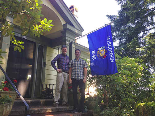 Ted Kaye, Steve Kodis, and the flag of Wisconsin at Kaye's house in Portland, June 2015.