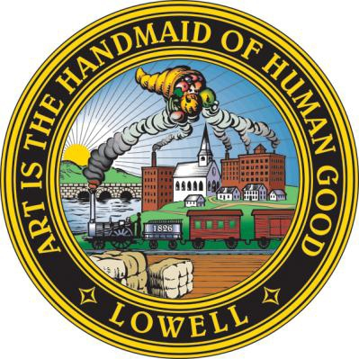 The city seal of Lowell, Massachusetts.