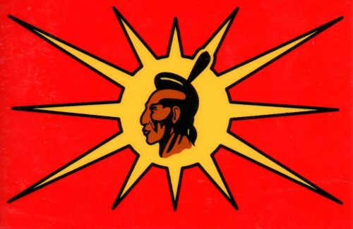 The  Mohawk Warrior Flag, designed by Louis Karoniaktajeh Hall.