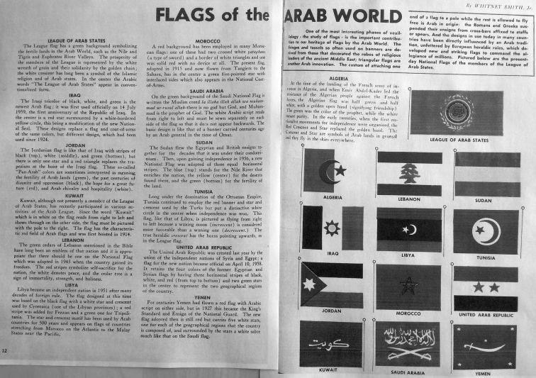Whitney Smith, Jr. Flags of the Arab World. In the journal The Arab World, volume 5, October 1958, pp. 12-13.