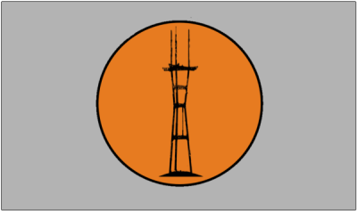 A more radical redesign by Burrito Justice in his set of 2013 proposals. This one features a landmark, Sutro Tower, beloved by locals for rising above the city's famous fog.