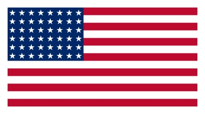 A 48-star US flag with a white border