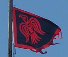 An unexplained Raven flag tops the Beechworth Bakery in Ballarat.