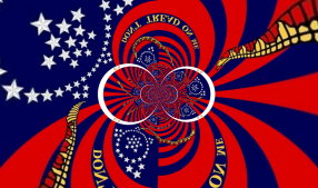 This psychedelic DTOM flag by Stephen Richard Barlow (on Deviant Art) owes more to the so-called First Navy Jack than the Gadsden flag, but is too strange not to exclude.
