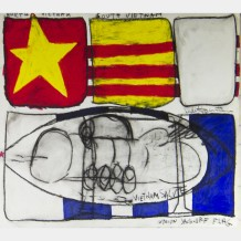 Judith Bernstein: Union Jackoff Flag, 1967. Charcoal and oil stick on paper.