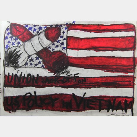Judith Bernstein: Union Jack-off on US Policy in Vietnam, 1967. Charcoal and oil stick on paper.