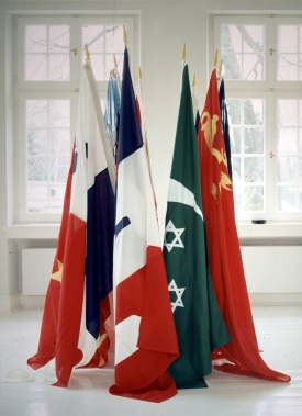 William N. Copley: Imaginary Flags of Ten Countries, 1972-1991. Polymarin and nylon, nylon applications.