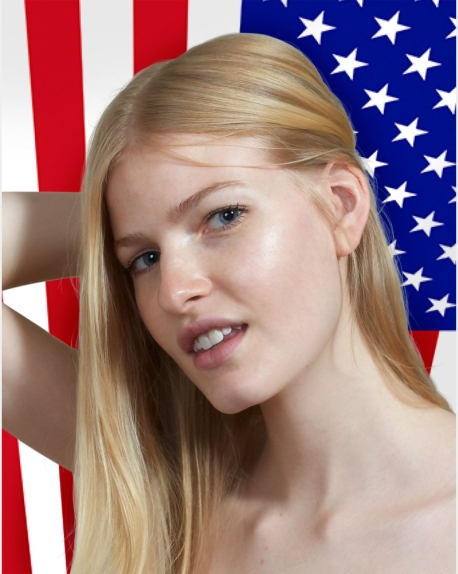 Roe Ethridge: Louise with Flag, 2014. Dye Sublimation Print on Aluminum.