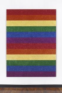 Jonathan Horowitz: Double Rainbow Flag for Jasper in the Style of the Artist's Boyfriend, 2013. Glitter and enamel on canvas.