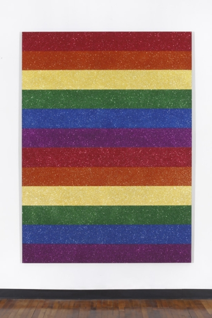Jonathan Horowitz: Double Rainbow Flag for Jasper in the Style of the Artist's Boyfriend, 2013. Glitter and enamel on canvas.