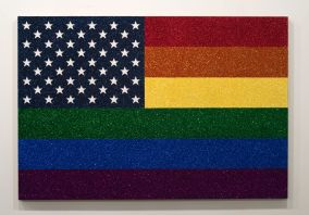 Jonathan Horowitz: Rainbow American Flag for Jasper in the Style of the Artist's Boyfriend, 2014. Glitter and enamel on linen.
