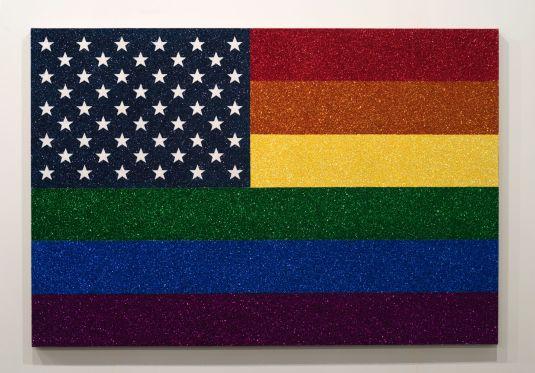 Jonathan Horowitz: Rainbow American Flag for Jasper in the Style of the Artist's Boyfriend, 2014. Glitter and enamel on linen.