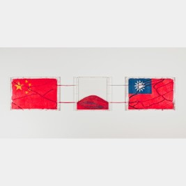 "Yukinori Yanagi: National Flags series ""Two Chinas"", 1997. Ants, colored sand, plastic box, plastic tube and plastic pipe."