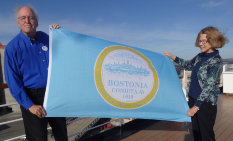 """Aboard the Eurodam: Boston city flag…Holland America presented me with a city flag of Boston (or should I say """"Bostonia""""?) as we sailed away."""