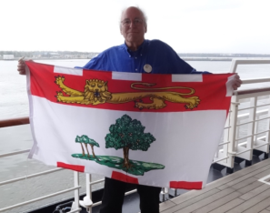 Charlottetown, Prince Edward Island: Prince Edward Island flag…Holland America presented me with the P.E.I.'s provincial flag as we left Charlottetown.
