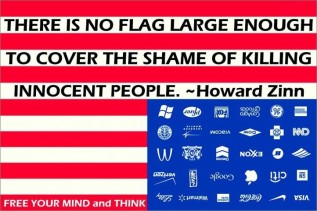 "An inverted, inscribed version of the Adbusters ""Corporate America Flag"" graphic."